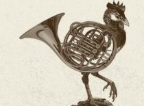 Illustrative Kombination aus Horn und Hahn in Kupferstich-Ästhetik für ein Veranstaltungsmotiv für das Konzert der Bremer Philharmoniker im Rahmen des Musikfests Bremen