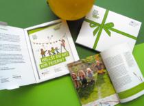 Päckchen Tag der kleinen Forscher Haus der kleinen Forscher Broschüre Wimpelkette Bastelbogen Print Layout Design