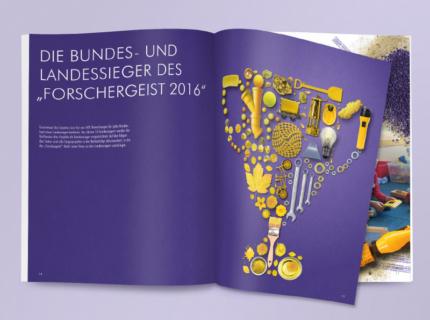 Doppelseite Siegerprojekte Forschergeist 2016 Polygraph Design Berlin Illustration Collage Broschüre Report Layout Editorial